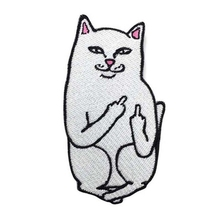 Funny Cat Middle Finger Embroidered Applique Iron On Sew On Patch Fabric Badge Garment DIY Apparel Accessories