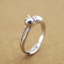 925 Sterling Silver Lovely Cute 3D Jumping Cat Adjustable Pinkie Ring size 5 A3460(China)