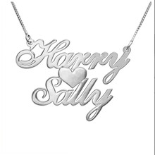 Custom Two Name Love Necklace Personalized Silver Carrie Style Name plate Necklace with Heart Fashion Necklace for Women 2016(China)