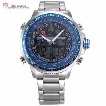 Winghead TIBURÓN Azul Reloj Deportivo Analógico LCD Fecha Alarma Cronógrafo de Cuarzo Correa de Acero Inoxidable Reloj de Los Hombres Relojes Digitales/SH326N