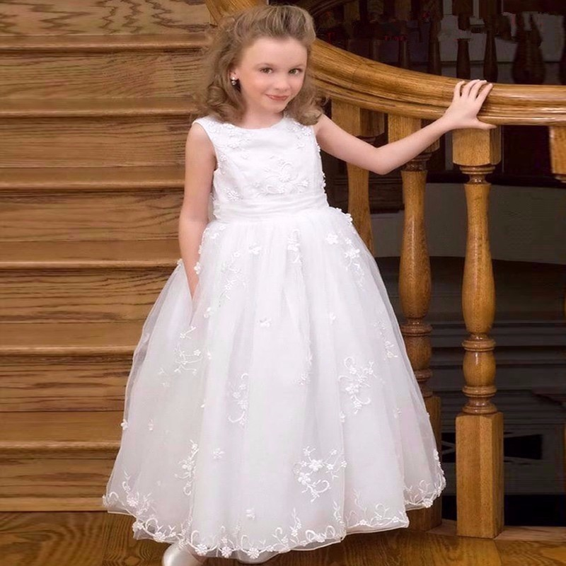 Lace Flower Girl Dresses Chirstmas Kids Evening Gowns Communion Dress for Wedding Party vestidos de comunion Pageant Dresses