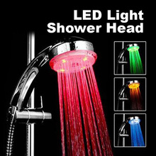 7 Color Changing Handheld Water-saving Colorful LED Shower Head Faucet Round Single Showerhead Bath Sprinkler Bathroom Accessori