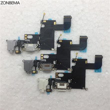 "ZONBEMA NEW Charger Charging Port Dock USB Connector Flex Cable For iPhone 6 6G 4.7"" Headphone Audio Jack Flex Ribbon(China)"
