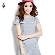 Large Size Mini Tennis Badminton Suits with polo shirt and Bottom Beach Dress for Women 2017 High Waist Pleated Skirts