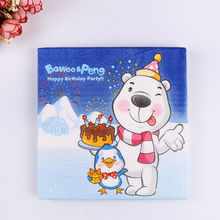 20pcs/lot Cute cartoon pattern birthday party napkins color printing paper towels paper handkerchiefs place mats