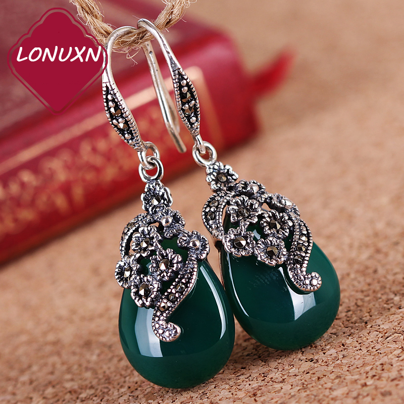 famous brand Natural semi-precious stones 925 Sterling silver earrings flowers green Opal Chalcedony Retro Women jewelry
