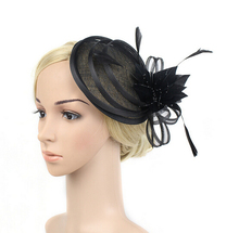 2016 New Fashion Women Flower Sinamay Fascinator Feather Hair Clip Red Black Beige Wedding Party Bride Fascinator Hat Headpiece