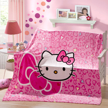 Pink printed cartoon child lovely hello kitty pattern girl boy bed blanket plaids and bedspreads to bed sofa travel flannel