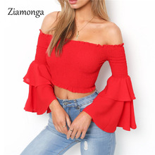 Ziamonga 2017 Trend Ruffles Slash Neck Sexy pleated Crop Top Women Off Shoulder T-Shirt Long Butterfly Sleeve T Shirt Tops Tees(China)