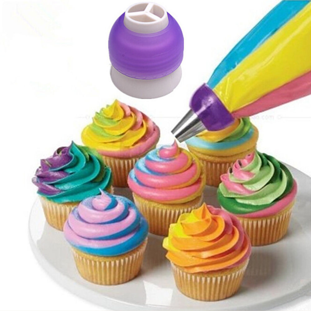 Cake Decorating Tools Cupcake Fondant Cookie 3 Hole Icing Piping Bag Nozzle Converter Tri-color Cream Coupler Wholesale