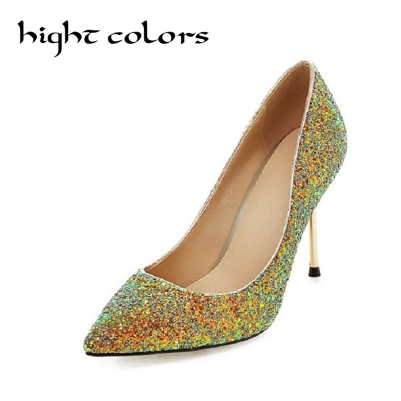 Fashion brand summer pointed toe high-heeled shoes sexy thin heels shallow mouth  paillette pink princess shoes women pumps<br><br>Aliexpress