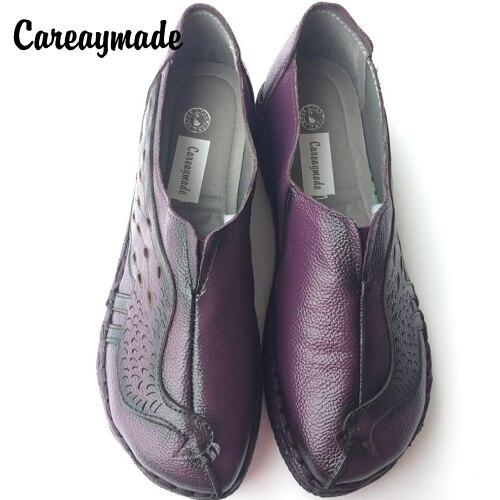 Careaymade-top layer Genuine leather handmade shoes retro Sen female shallow soft bottom hollow Peacock Art  retro flat shoes<br>