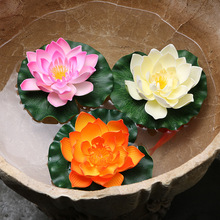 50pcs/lot 17CM Decoration Garden Artificial False Foam Lotus Flower Water Lily Floating Pool Garden Plants Decoration miniascape(China)