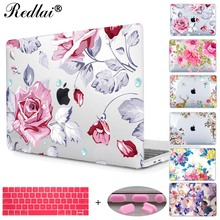 Redlai Colorful Floral Plastic Print Hard Case Cover For Macbook Pro Retina 13 12 15 Air 13 11 New Pro 13 15 Touch bar Sleeve(China)