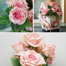 (7 Heads/Bunch)Real Touch Silk Big Size Queen Anna Vivid Rose Artificial Flowers Bouquets Wedding Party Sweet Home Decoration