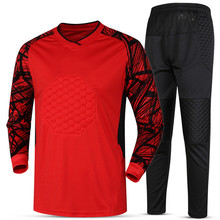 Men Soccer sets Training pants Rugby Goalkeeper Jerseys Survetement football 2017 Goal keeper Uniforms knee pad Quick Dry Custom(China)