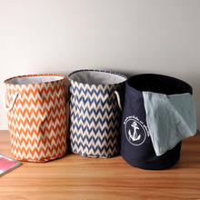 Navy Anchor Blue Wave Cotton Storage Basket Storage Bags for Kids Toys Dirty Clothes Folding Organizer Clothes Laundry Basket