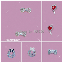 Simple DIY Nail art ideas Bright Crystal 3D Alloy heart and bow-tie long shape stickers and nail art tutorial(China)