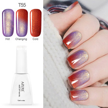 Azure Beauty 12ml/pcs Temperature Changing Glitter Color Gel Polish Shiny Color Nail Gel For Nail Art Soak off LED Gel Polish