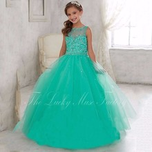 2017 Pageant Dresses For Girls Glitz Crystal Beads Green Ball Bowns Tulle New First Communion Dressy dresses for girls