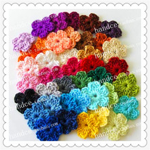 free shipping 100pic/lot colorful cotton crochet flowers decorative flowers wreaths for Christmas festival holiday DIYdecor(China)