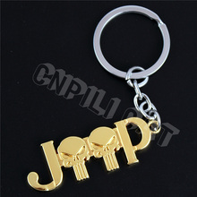 3D Gold Punisher JEEP Car Key Ring Key Chain for Grand Cherokee Patriot Renegade Wrangler Etc.