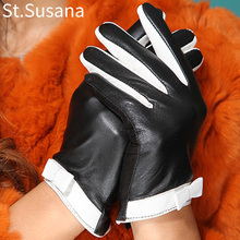 2017 girls lady gloves touch screen gloves performance gift driving women genuine leather black white smart sexy gloves Mittens(China)