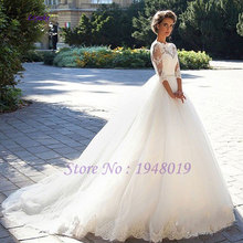 Elegant Organza High Collar Three Quarter Ball Gown Wedding Dresses Appliques Lace Beading Sashes Wedding Gowns Vestido De Noiva