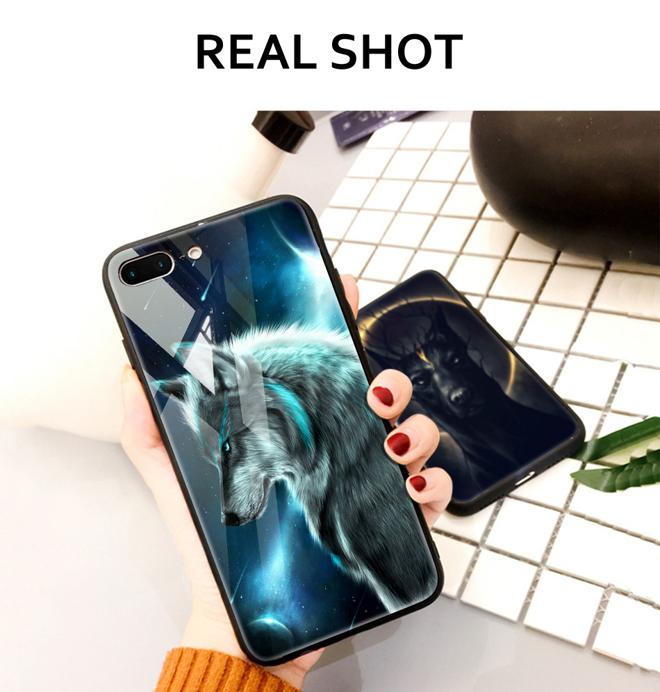 TOMKAS Animal Glass Case For iPhone X 8 7 10 6 Cover Phone Cases For iPhone X 7 8 6 6s Plus Case Luxury Cute TPU PC Covers Coque (14)