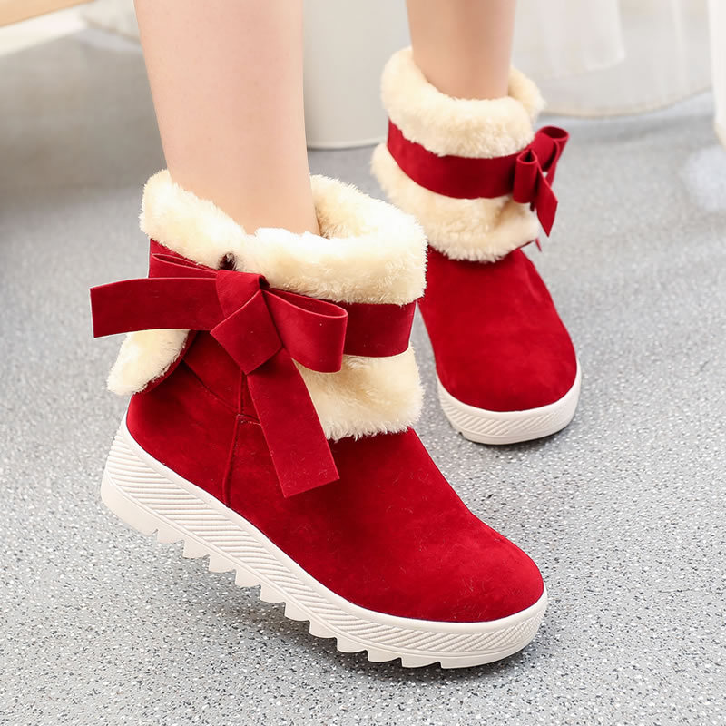 Winter Fashion Women Shoes Casual Bow Princess Sweet Boot Flat Flock Mid-calf Boots for Women Thick Fur Cotton Shoes S-6091501<br><br>Aliexpress