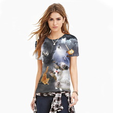 3D print women apparel 2016 new collection tshirts cat design couple clothes tee shirts femme skinny punk spandex women tops