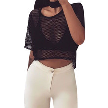 women t-shirt for summer 2017 Black Mesh Cover Up Breathable Fishnet Top Short Sleeve Shirt Ladies Casual Tops Tees