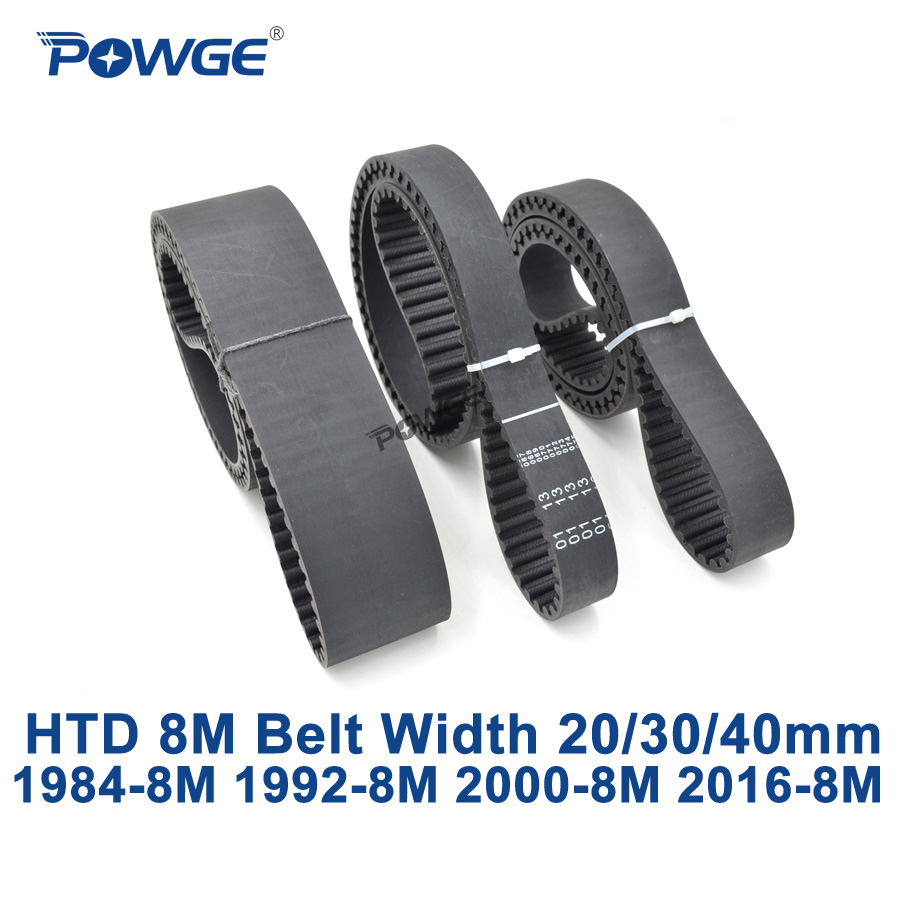 POWGE HTD 8M synchronous Timing belt C=1984/1992/2000/2016 width 20/30/40mm Teeth 248 249 250 252 HTD8M 1944-8M 1952-8M 1960-8M<br>