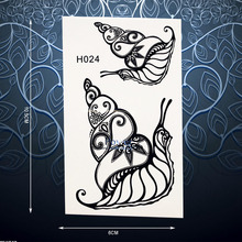 Exquisite Henna Snails Temporary Tattoo Sticker For Men Women Black Ink Fake Tattoo Body Art Waterproof Arm Tattoo Stickers PH24(China)