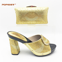 Most fashion design gold color hoof heels with rhinestones African Women Matching Italian Shoe and Bag Set hot sales in Africa(China)