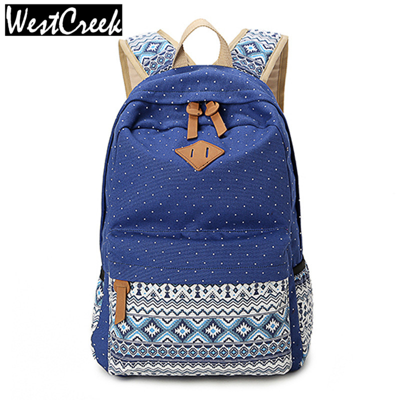 Vintage School Bags for Teenagers Girls Schoolbag Large Capacity Lady Canvas Dot Printing Backpack Rucksack Bagpack BookBag(China (Mainland))
