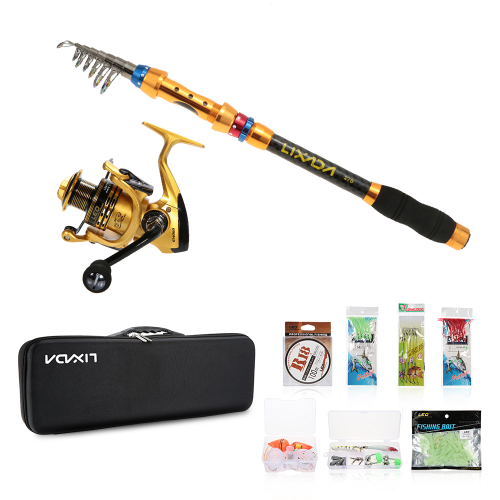 Reel Combo Spinning-Reel-Pole-Set Fishing-Tool Telescopic with Line Lures In-Bag Full-Kits title=