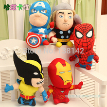 18CM Superheroes Cartoon Style Super Hero Plush Doll The Avengers Spider Man Batman Iron Man Captain America Free shopping 1PCS