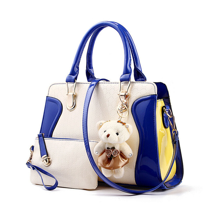 Fashion PU Patent Leather Ladies Shoulder Bag Elegant Women Messenger Bags bolsos Tote Set Bear Toy Handbags with Clutch Purse<br><br>Aliexpress