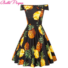 Buy 2018 Women Shoulder Cotton Summer Dress Ladies Pineapple Print robe Vintage 50s Rockabilly Ruffle Swing Retro Party Dresses for $19.33 in AliExpress store