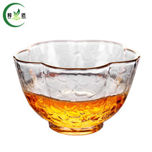 70ml Heat-Resistant Glass Tea Cup With Petals Shaped Golden Border Malleolar Stria Black Tea Da Hong Pao Tea Cup(China)
