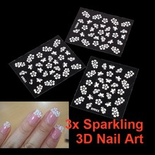 3pcs DIY Tips Sparkling 3D Cosmetic Sticker Decal Seal Flower Makeup Nail Art Manicure Tips Decal