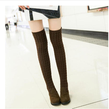 Women Boots 2015 Autumn Winter Ladies Fashion Flat Bottom Boots Shoes Over The Knee Thigh High Knitting wool Long Brand Boots