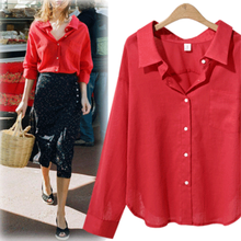 Autumn speed sell through ebay in Europe and the loose long-sleeved v-neck lady's pure color shirt(China)
