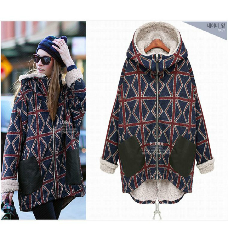 Large size plus cashmere warm lattice cotton large yards long cotton winter jacket women parkas mujer invierno 2017 A715(China)