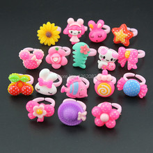 Hot 10pcs Baby Girls' Mixed styles Lovely Candy Color Animals Flower Cartoon Rings Kids Rings for Christmas gift MR123(China)