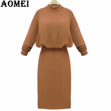 2017 Women Winter Sweater Dress Long Knit Wear Jumper Khaki Red Fall Fashion Knitted Pullover Grey Femme Slimming Longue Robes