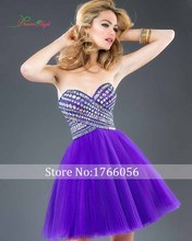 Free Shipping Elegant Purple Color 2017 New Arrival Sexy Sweetheart Backless Crystal Girls Cocktail Dress Mini Short Gowns Dress