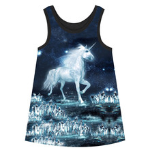 Girls Dresses big brand 2018 The unicorn Print Children Designer baby Kids Clothes Fashion Girl clothing dress Summer style(China)