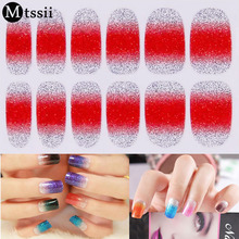 Glitter Nail Stickers Nail Patch French Manicure on Environmental Protection All Nail Decals Bright Shiny Nial Sticker(China)